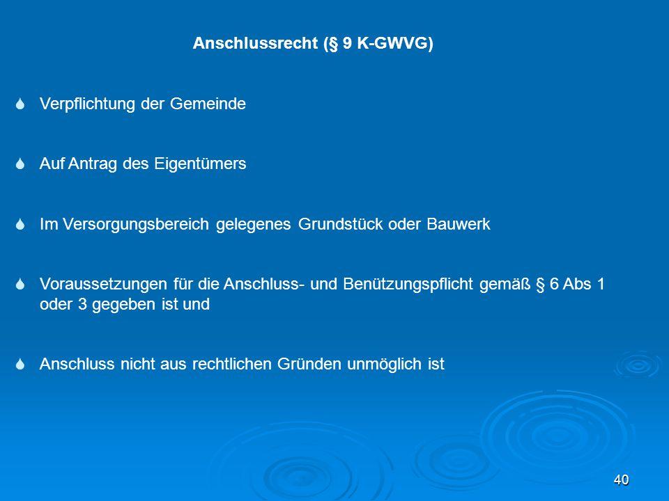Anschlussrecht (§ 9 K-GWVG)
