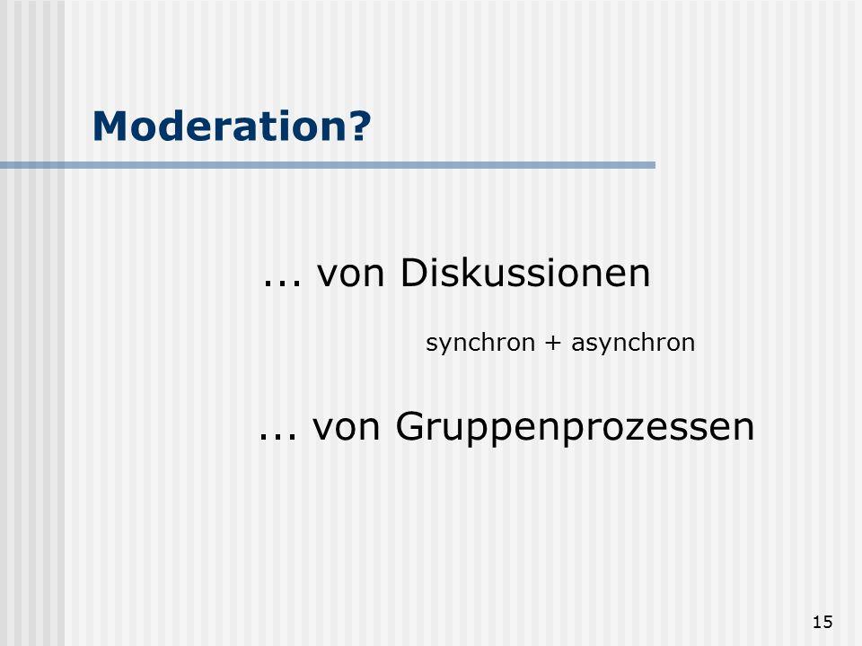 Moderation ... von Diskussionen ... von Gruppenprozessen