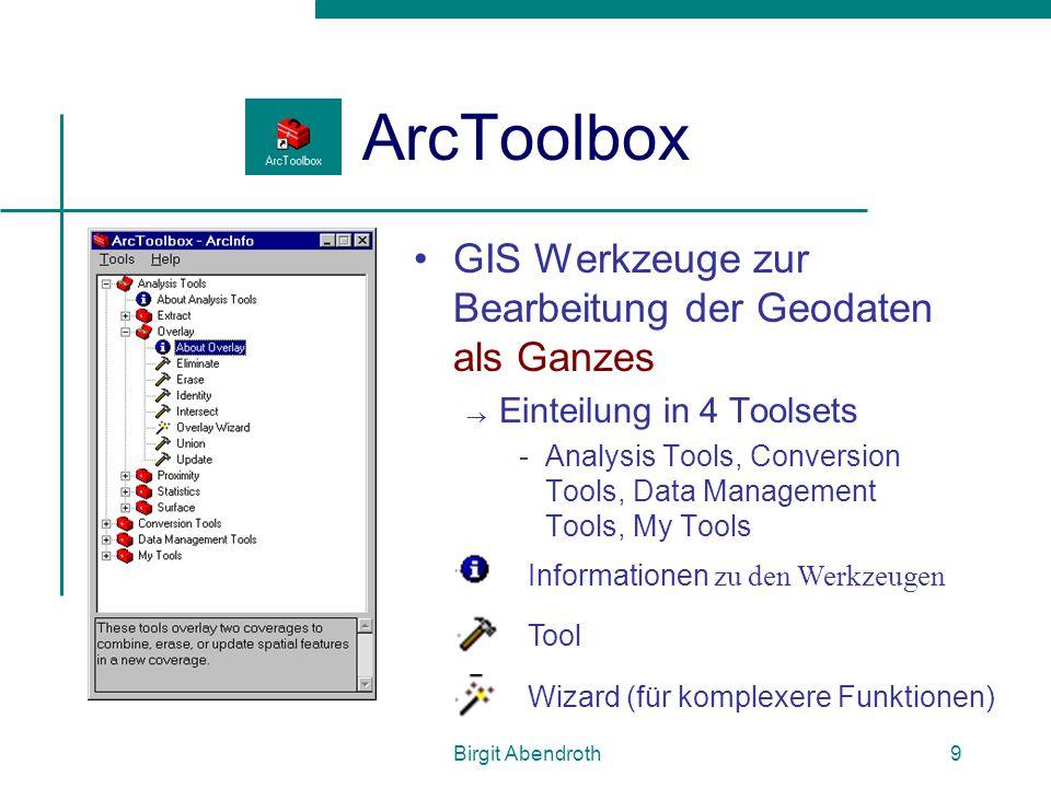 ArcToolbox GIS Werkzeuge zur Bearbeitung der Geodaten als Ganzes