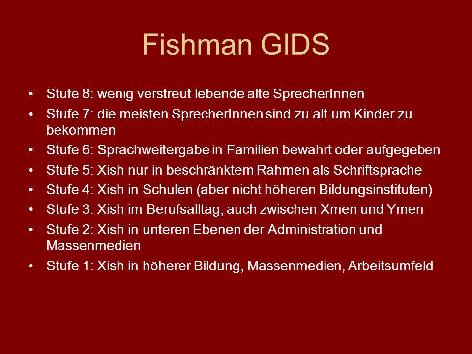 Fishman GIDS Stufe 8: wenig verstreut lebende alte SprecherInnen
