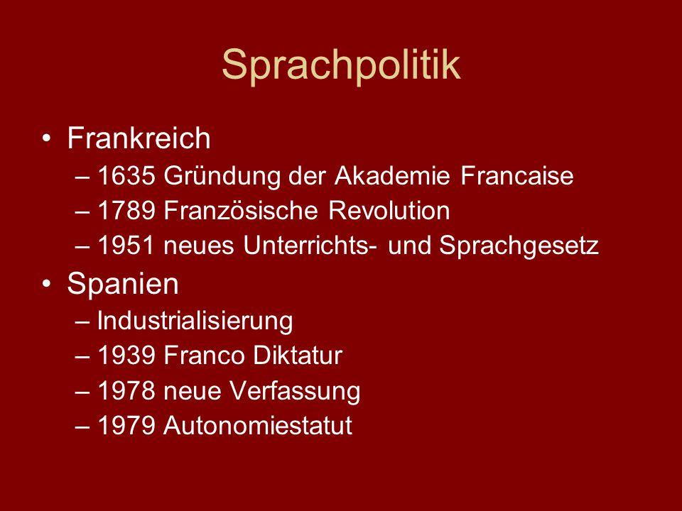 Sprachpolitik Frankreich Spanien 1635 Gründung der Akademie Francaise