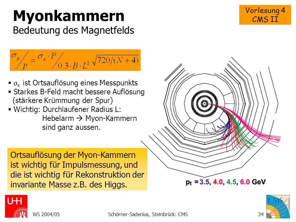 Myonkammern Bedeutung des Magnetfelds