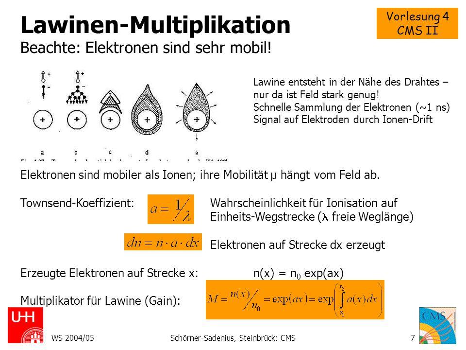 Lawinen-Multiplikation Beachte: Elektronen sind sehr mobil!