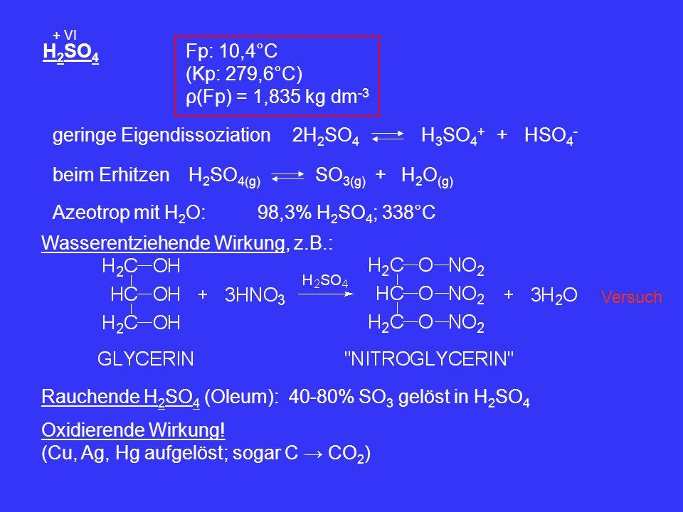 geringe Eigendissoziation 2H2SO4 H3SO4+ + HSO4-
