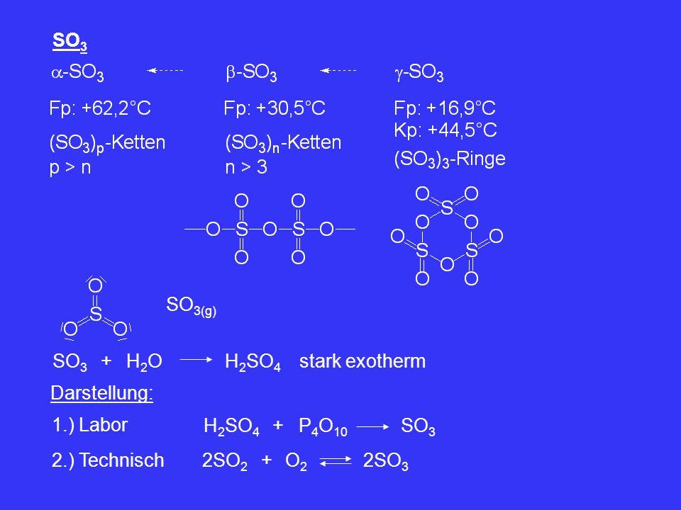 SO3 SO3(g) SO3. + H2O. H2SO4. stark exotherm. Darstellung: 1.) Labor. H2SO4. + P4O10. SO3.