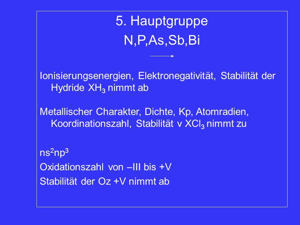 5. Hauptgruppe N,P,As,Sb,Bi. Ionisierungsenergien, Elektronegativität, Stabilität der Hydride XH3 nimmt ab.