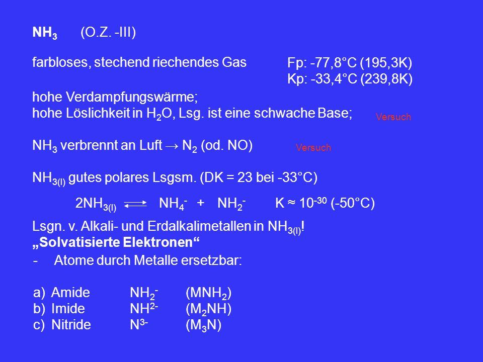 farbloses, stechend riechendes Gas Fp: -77,8°C (195,3K)