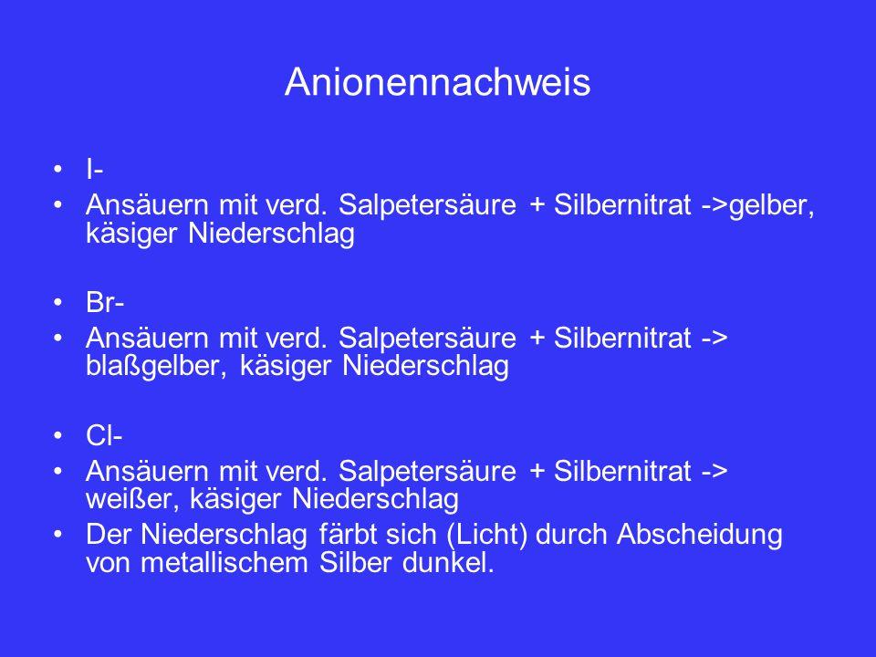 Anionennachweis I- Ansäuern mit verd. Salpetersäure + Silbernitrat ->gelber, käsiger Niederschlag.