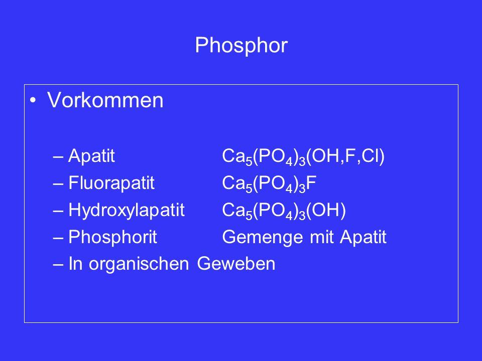 Phosphor Vorkommen Apatit Ca5(PO4)3(OH,F,Cl) Fluorapatit Ca5(PO4)3F