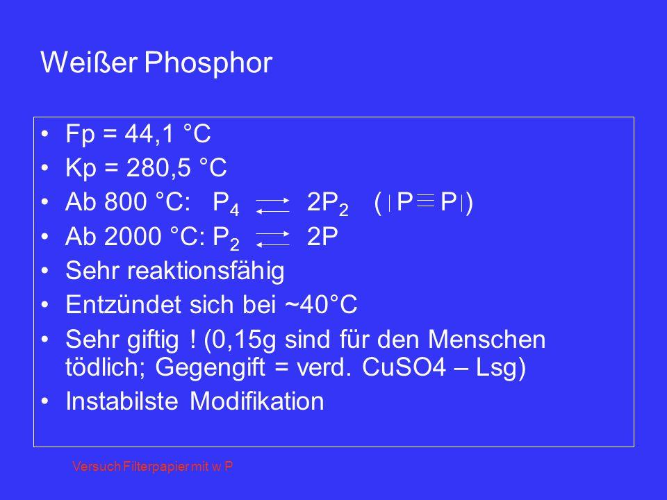 Weißer Phosphor Fp = 44,1 °C Kp = 280,5 °C Ab 800 °C: P4 2P2 ( P P )
