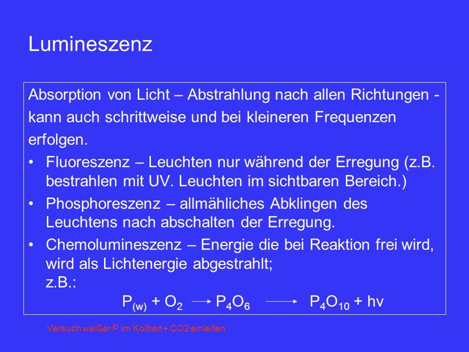 Lumineszenz Absorption von Licht – Abstrahlung nach allen Richtungen -