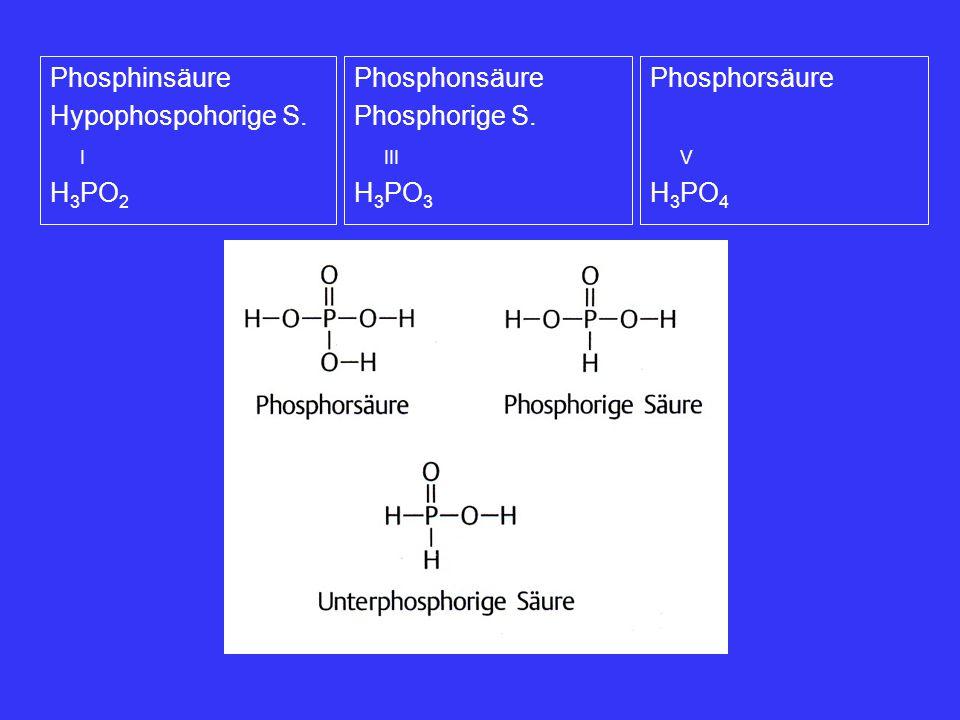 Phosphinsäure Hypophospohorige S. I. H3PO2. Phosphonsäure. Phosphorige S. III. H3PO3. Phosphorsäure.