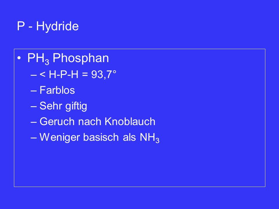 P - Hydride PH3 Phosphan < H-P-H = 93,7° Farblos Sehr giftig