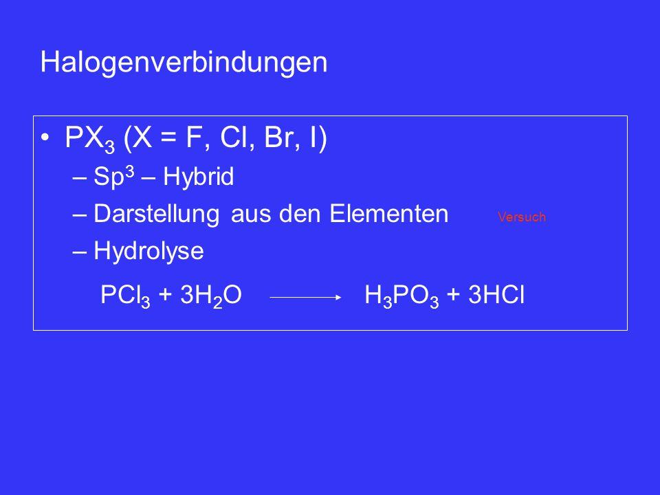 Halogenverbindungen PX3 (X = F, Cl, Br, I) Sp3 – Hybrid
