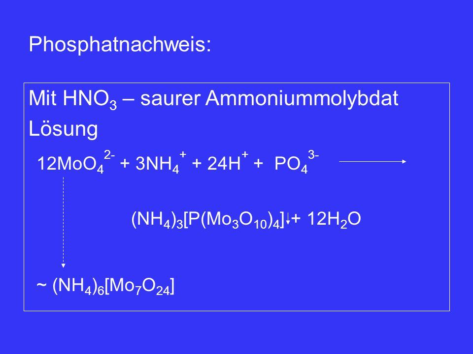 Mit HNO3 – saurer Ammoniummolybdat Lösung