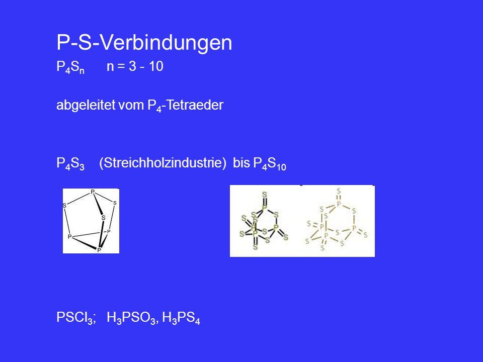P-S-Verbindungen P4Sn n = 3 - 10 abgeleitet vom P4-Tetraeder