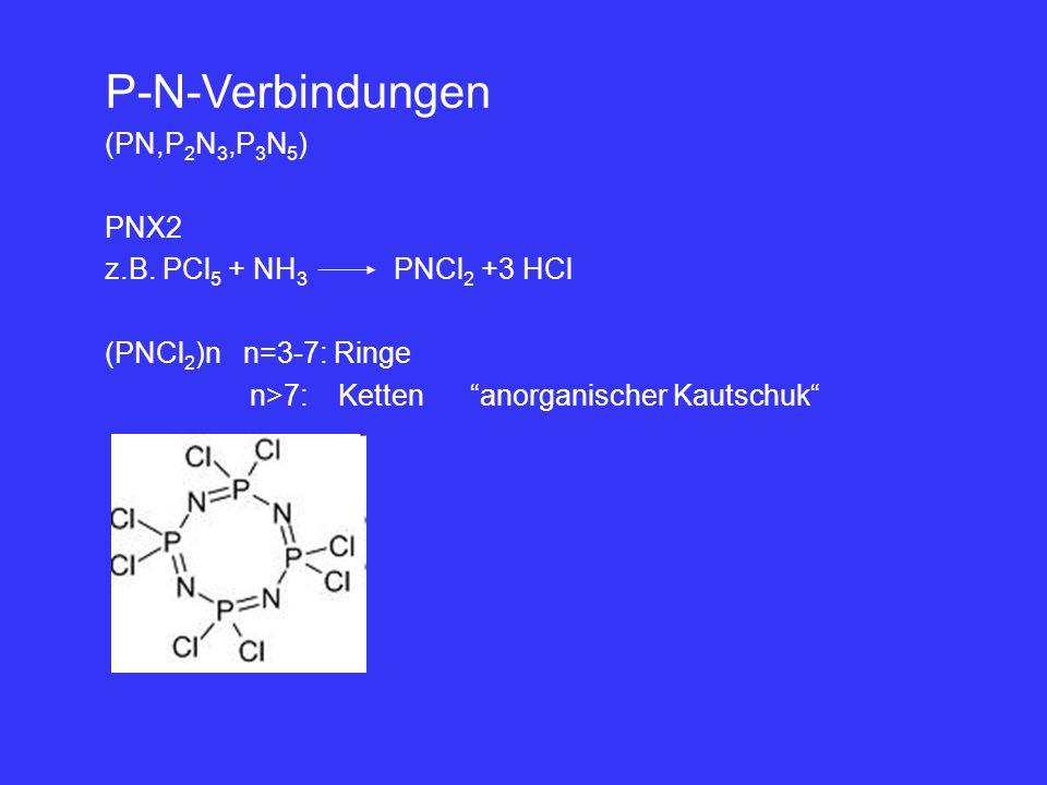 P-N-Verbindungen (PN,P2N3,P3N5) PNX2 z.B. PCl5 + NH3 PNCl2 +3 HCl