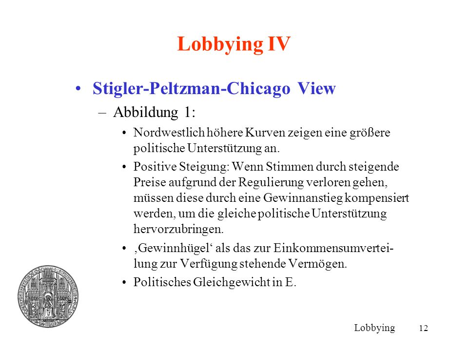 Lobbying IV Stigler-Peltzman-Chicago View Abbildung 1: