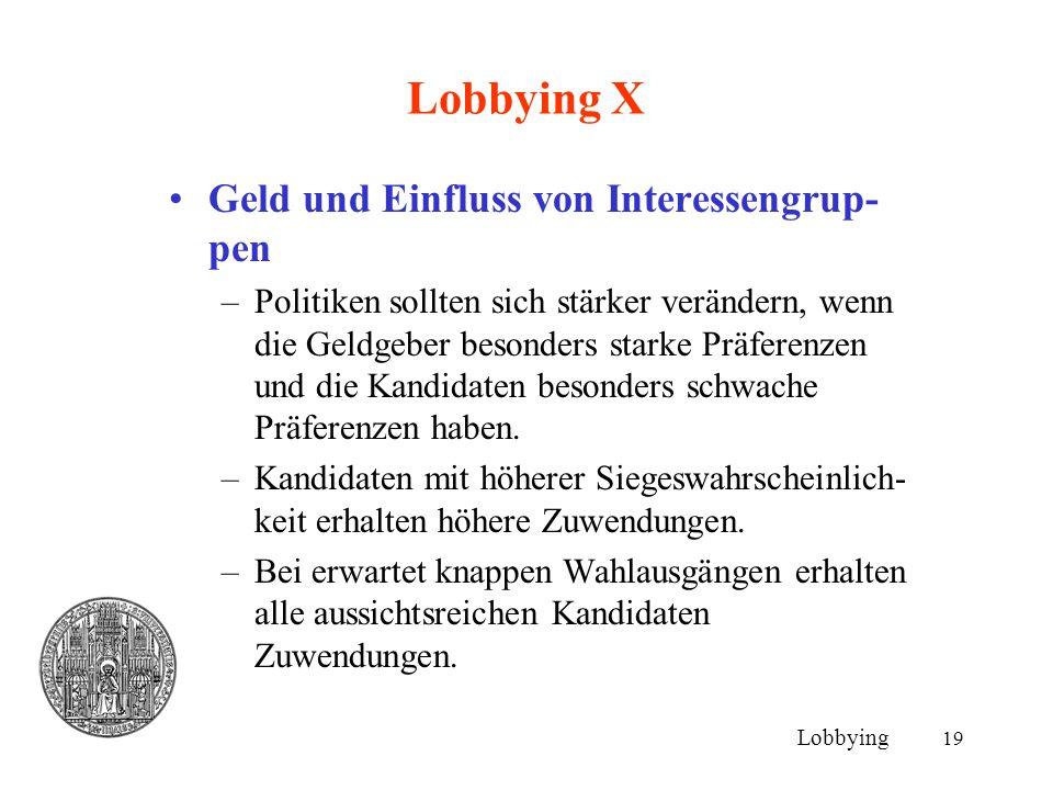 Lobbying X Geld und Einfluss von Interessengrup-pen