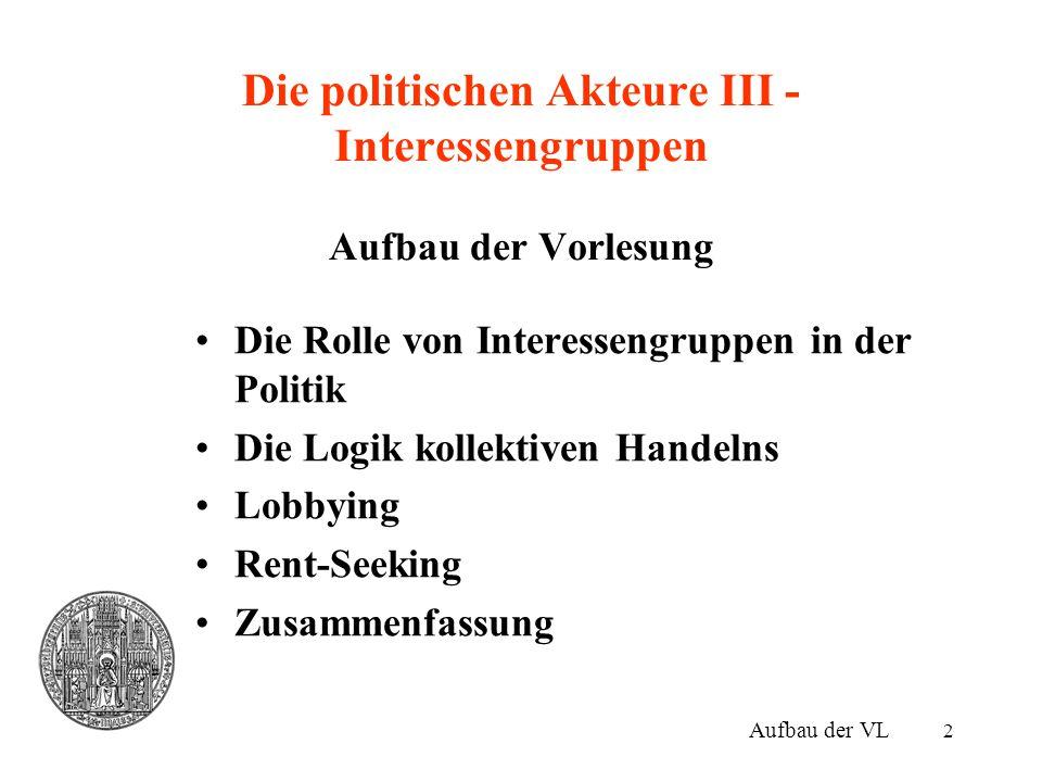 Die politischen Akteure III - Interessengruppen Aufbau der Vorlesung