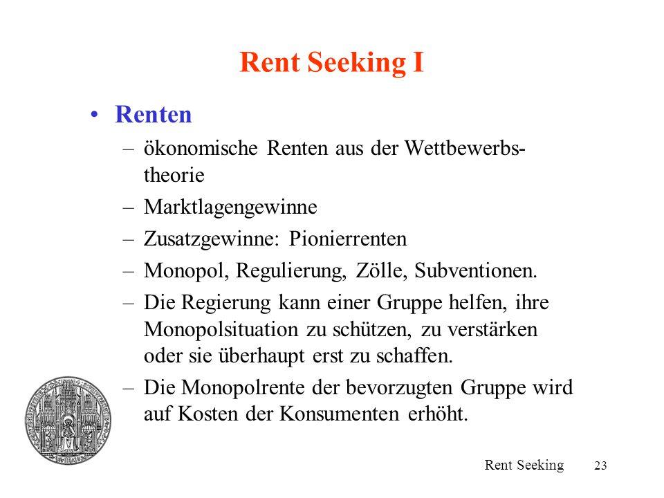 Rent Seeking I Renten ökonomische Renten aus der Wettbewerbs-theorie