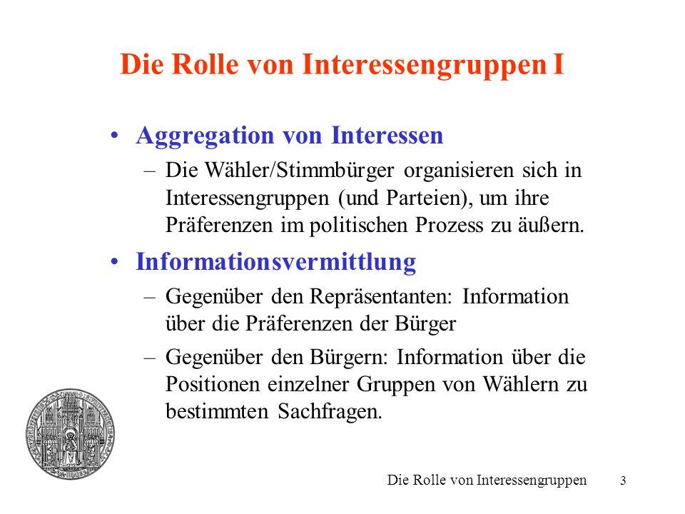 Die Rolle von Interessengruppen I