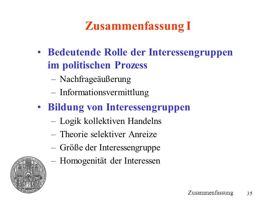 Zusammenfassung I Bedeutende Rolle der Interessengruppen im politischen Prozess. Nachfrageäußerung.