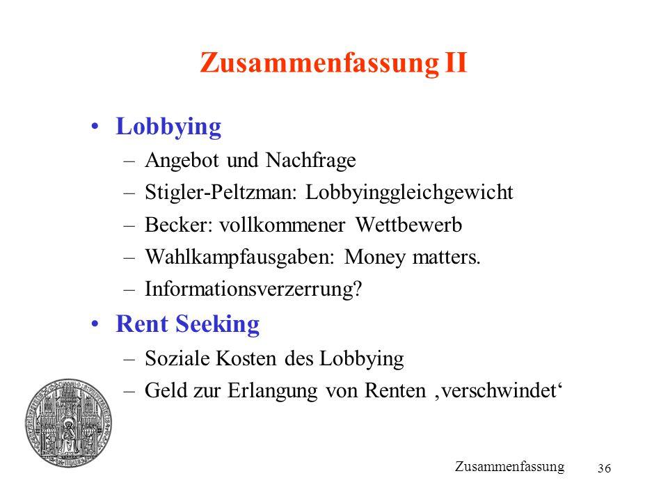 Zusammenfassung II Lobbying Rent Seeking Angebot und Nachfrage