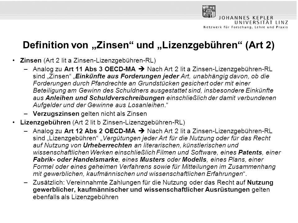 """Definition von """"Zinsen und """"Lizenzgebühren (Art 2)"""