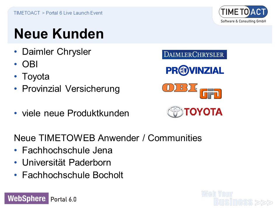 Neue Kunden Daimler Chrysler OBI Toyota Provinzial Versicherung