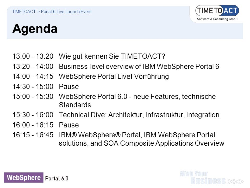 Agenda 13:00 - 13:20 Wie gut kennen Sie TIMETOACT