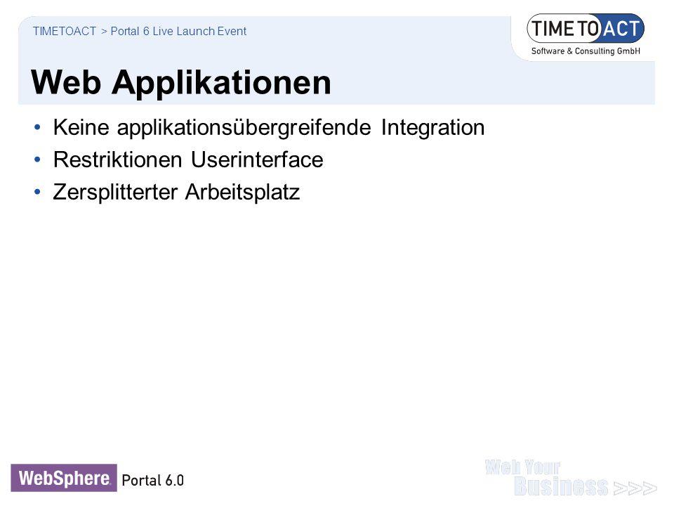 Web Applikationen Keine applikationsübergreifende Integration