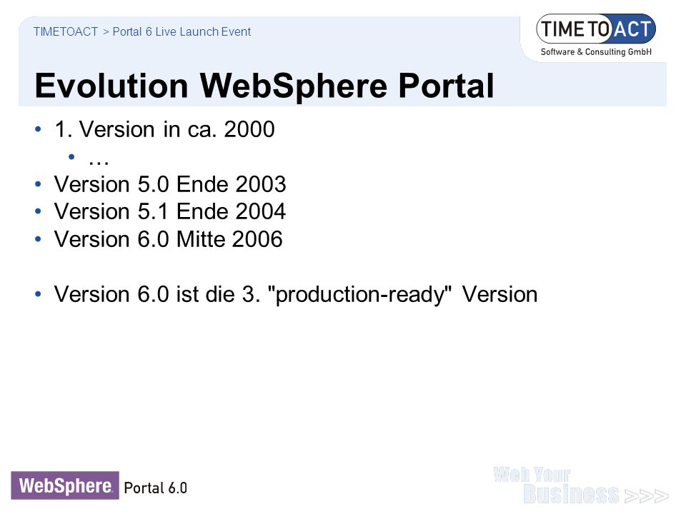 Evolution WebSphere Portal