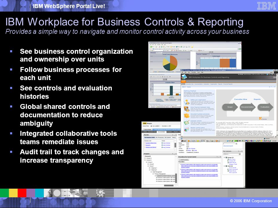 IBM Workplace for Business Controls & Reporting Provides a simple way to navigate and monitor control activity across your business
