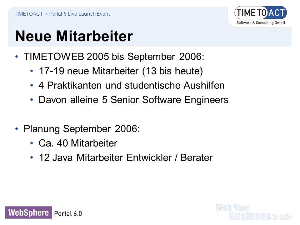 Neue Mitarbeiter TIMETOWEB 2005 bis September 2006:
