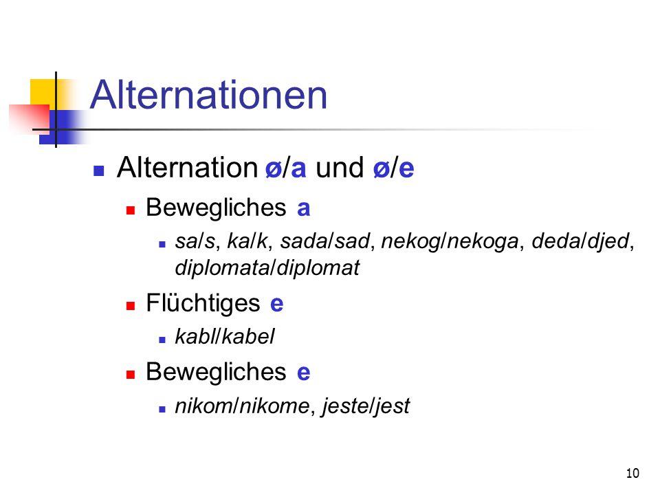 Alternationen Alternation ø/a und ø/e Bewegliches a Flüchtiges e