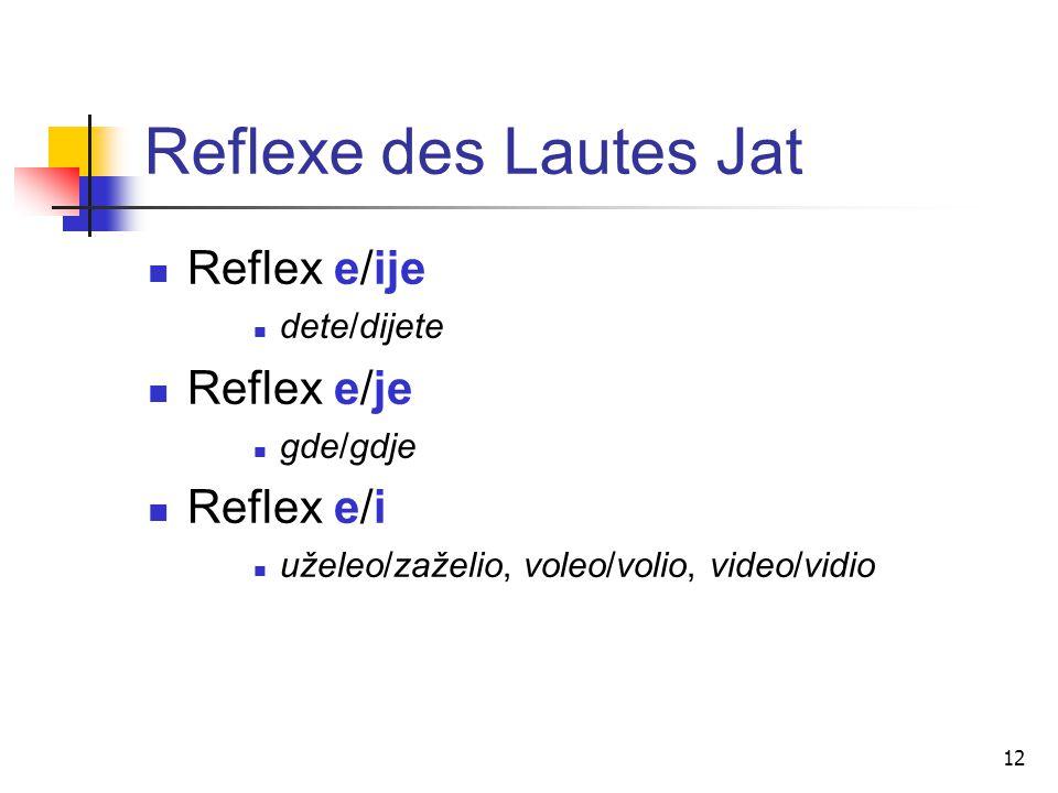 Reflexe des Lautes Jat Reflex e/ije Reflex e/je Reflex e/i dete/dijete