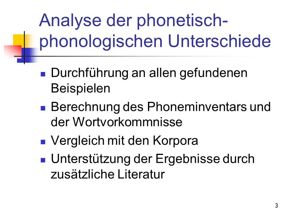 Analyse der phonetisch-phonologischen Unterschiede