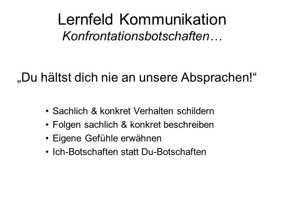 Lernfeld Kommunikation Konfrontationsbotschaften…