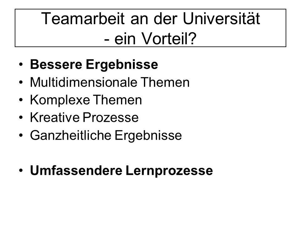 Teamarbeit an der Universität - ein Vorteil