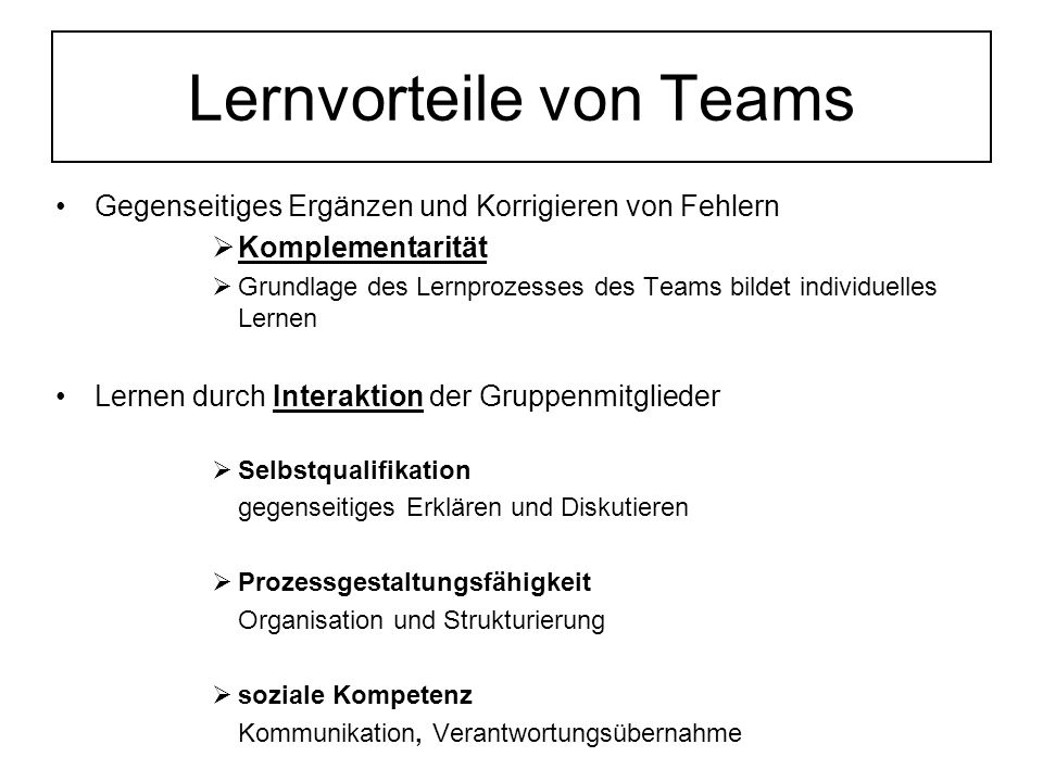 Lernvorteile von Teams