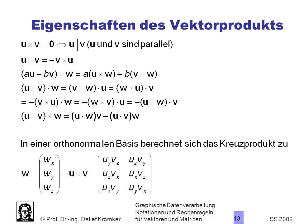 Eigenschaften des Vektorprodukts