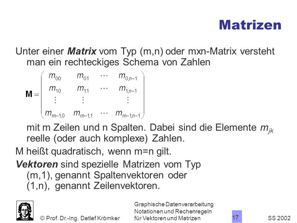 Matrizen Unter einer Matrix vom Typ (m,n) oder mxn-Matrix versteht man ein rechteckiges Schema von Zahlen.