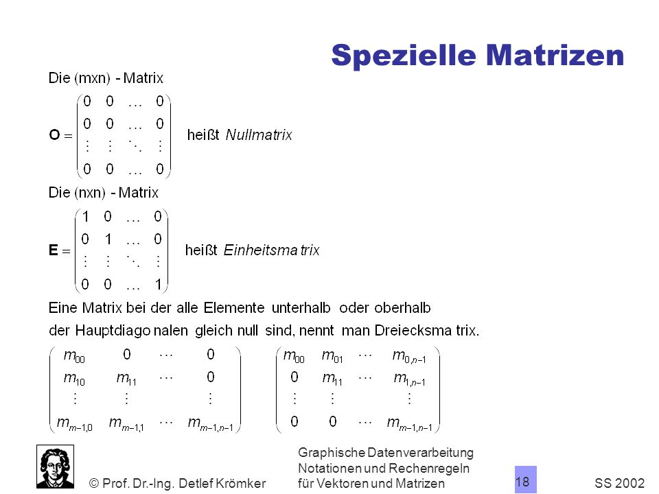 Spezielle Matrizen Graphische Datenverarbeitung