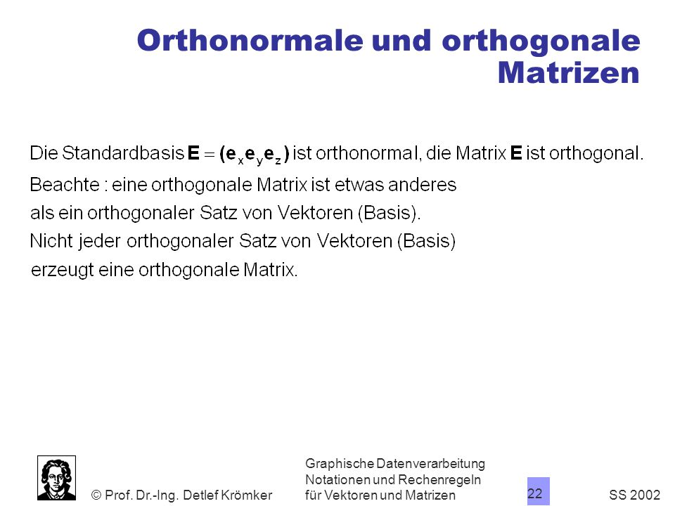 Orthonormale und orthogonale Matrizen