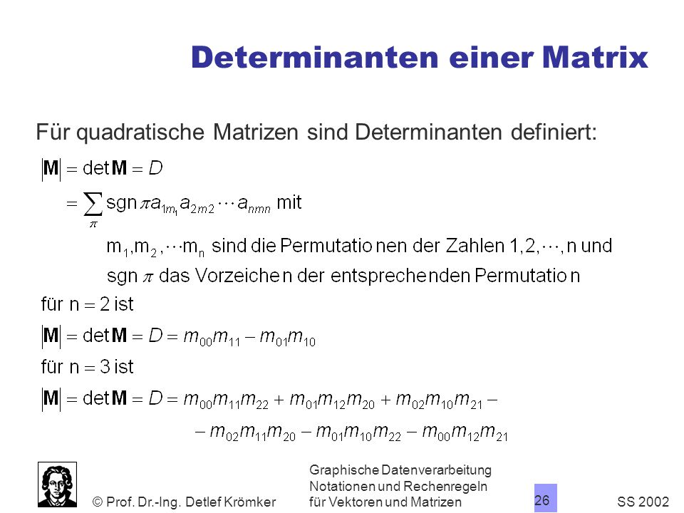 Determinanten einer Matrix