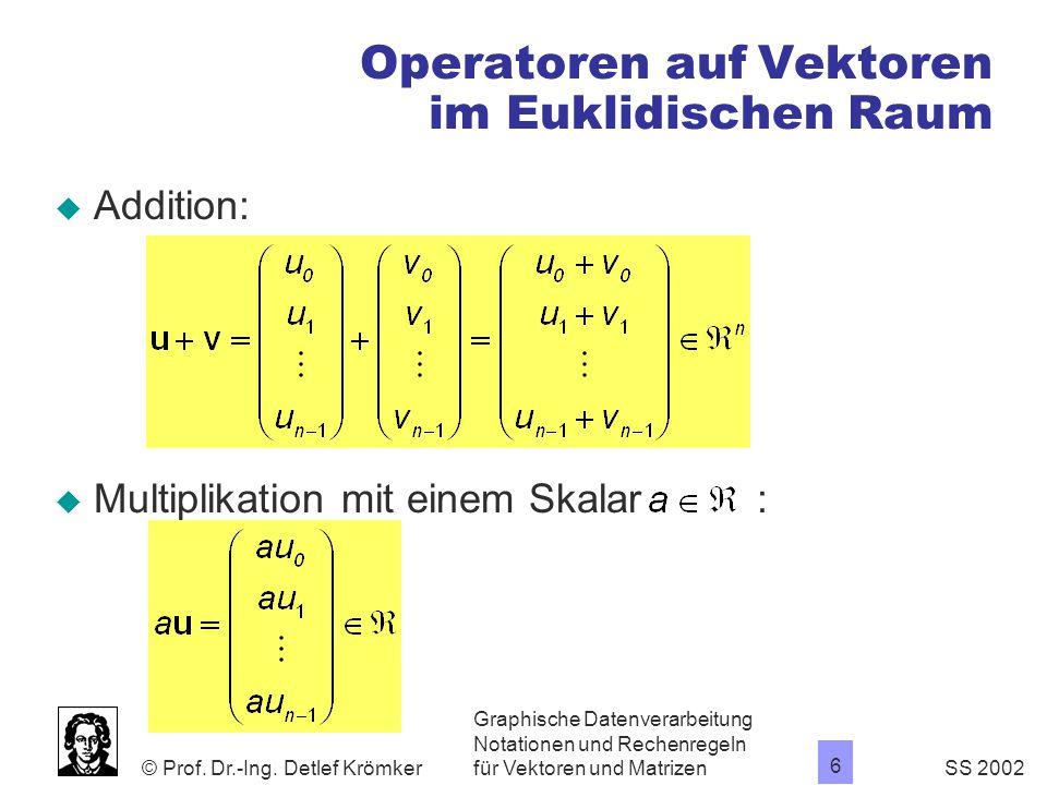 Operatoren auf Vektoren im Euklidischen Raum