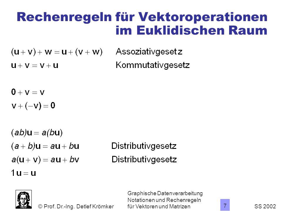 Rechenregeln für Vektoroperationen im Euklidischen Raum