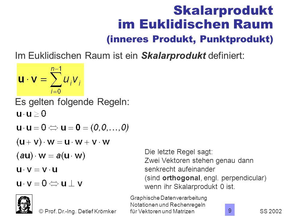 Skalarprodukt im Euklidischen Raum (inneres Produkt, Punktprodukt)