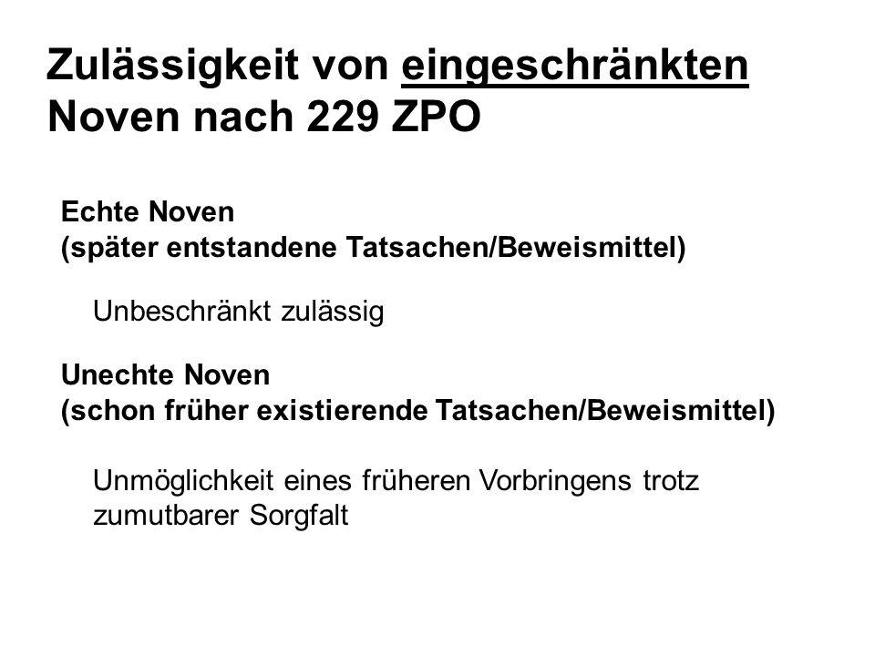 Zulässigkeit von eingeschränkten Noven nach 229 ZPO